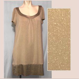 Express gold sparkle tunic with satin like hem